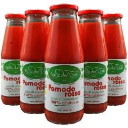Salsa Di Pomodoro Calabrese  Senza Glutine Sugo Pronto in 5 Minuti (6 Bottiglie da 720 ml)